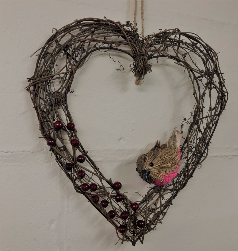 Berry & Twig Metal Heart Christmas Wreath with Robin 33cm
